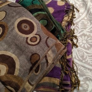 3 Pashmina Scarves with Circular Design EUC